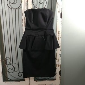 A.J. Bari formal black strapless peplum dress size